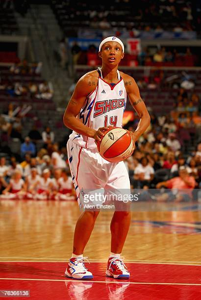 Deanna Nolan of the Detroit Shock shoots a free throw during the game against the New York Liberty in Game Two of the Eastern Conference Semifinals...