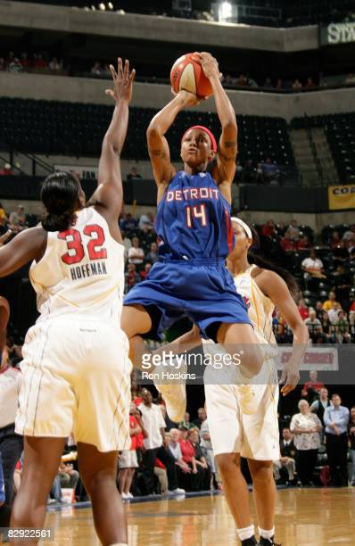 Deanna Nolan of the Detroit Shock shoots over Ebony Hoffman of the Indiana Fever in Game One of the Eastern Conference Semifinals during the 2008...