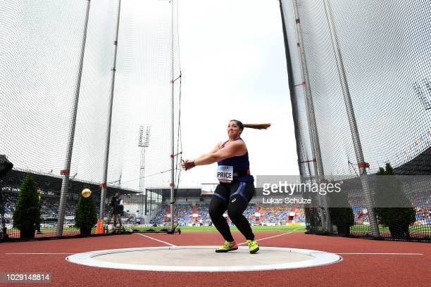 DeAnna Price of Team Americas comeptes in the Womens Hammer Throw during day one of the IAAF Continental Cup at Mestsky Stadium on September 8, 2018...