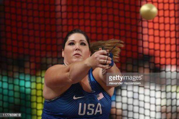 Deanna Price of the United States competes in the Women's Hammer Throw final day two of 17th IAAF World Athletics Championships Doha 2019 at Khalifa...