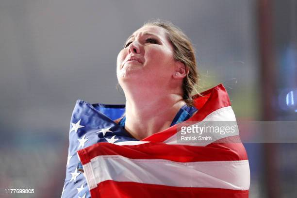 Deanna Price of the United States reacts after placing first in the Women's Hammer Throw final day two of 17th IAAF World Athletics Championships...
