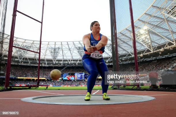 Deanna Price of the USA competes in the Women's Hammer Throw during day one of the Athletics World Cup London at the London Stadium on July 14, 2018...