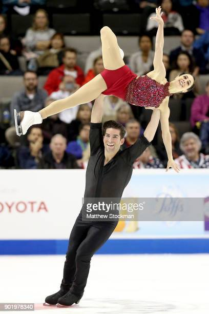 Deanna StellatoDudek Nathan Bartholomay compete in the Pairs Free Skate during the 2018 Prudential US Figure Skating Championships at the SAP Center...