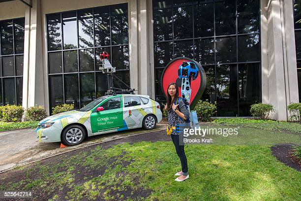 Deanna Yick Street View Program Manager at Google with the Google Trekker backpack at Googleplex in Mountain View CA