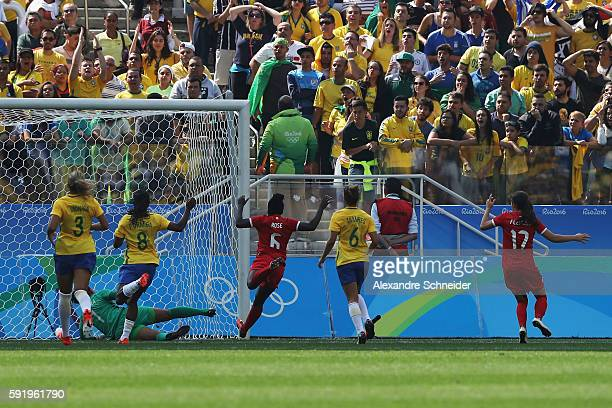 Deanne Rose of Canada opens the scoring during the Women's Olympic Football Bronze Medal match between Brazil and Canada at Arena Corinthians on...
