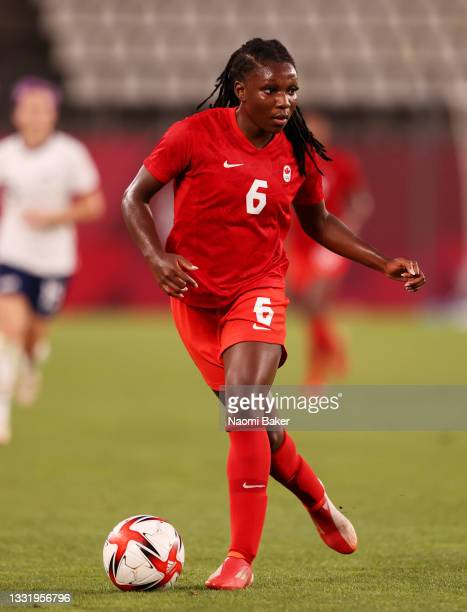 Deanne Rose of Team Canada runs with the ball during the Women's Semi-Final match between USA and Canada on day ten of the Tokyo Olympic Games at...