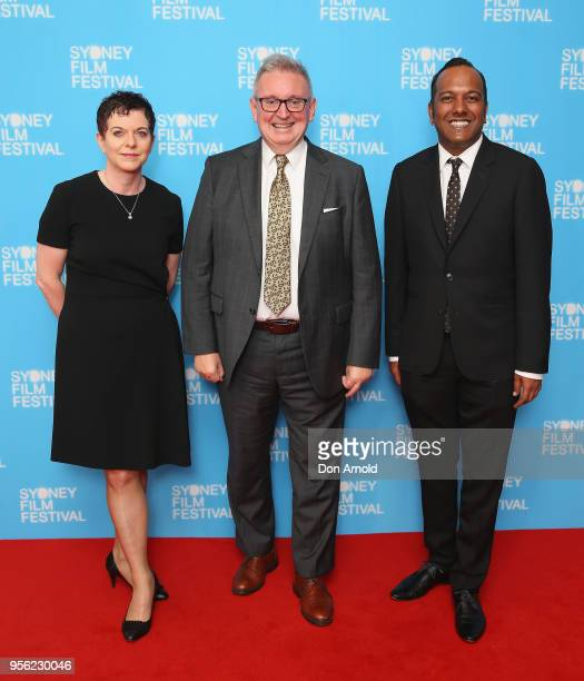 Deanne Weir Don Harwin and Nashen Moodley attend the Sydney Film Festival 2018 Program Launch at Sydney Town Hall on May 9 2018 in Sydney Australia