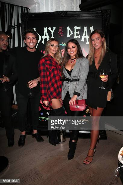 Deano Bugatti Courtney Green and Chloe Meadows attend the 'Day Of The Dead' party at Leicester Square Kitchen on November 2 2017 in London England