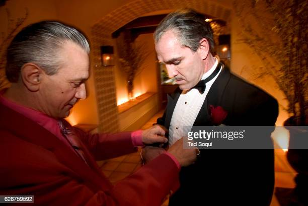 Deano Clavet right with a Robert DeNiro look alike Clavet a Marlon Brando/Godfather Don Corleone look alike at the 14th annual Reel Awards show...