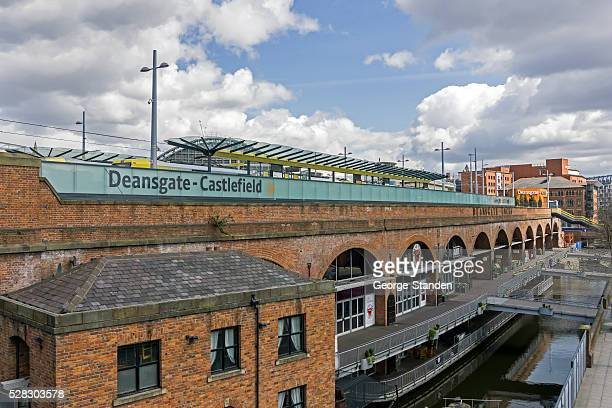 deansgate castlefield manchester - manchester england stock pictures, royalty-free photos & images