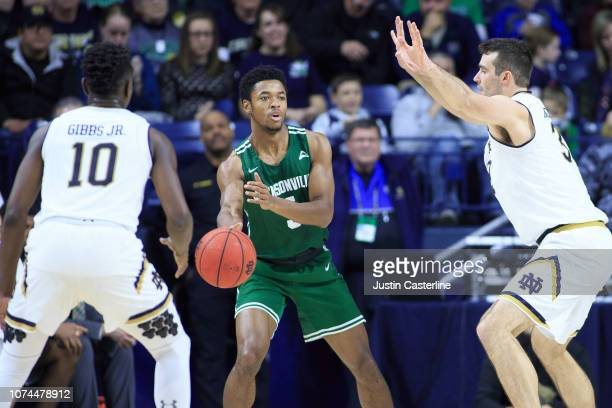 DeAnthony McCallum of the Jacksonville Dolphins passes the ball in the game against the Notre Dame Fighting Irish in the second half at Purcell...