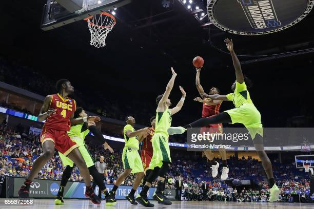 De'Anthony Melton of the USC Trojans attempts a shot against the Baylor Bears during the second round of the 2017 NCAA Men's Basketball Tournament at...