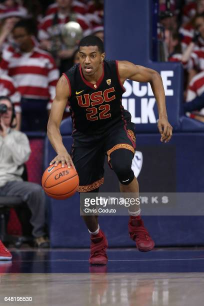 De'Anthony Melton of the USC Trojans brings the ball up the floor during the first half of the college basketball game against the Arizona Wildcats...
