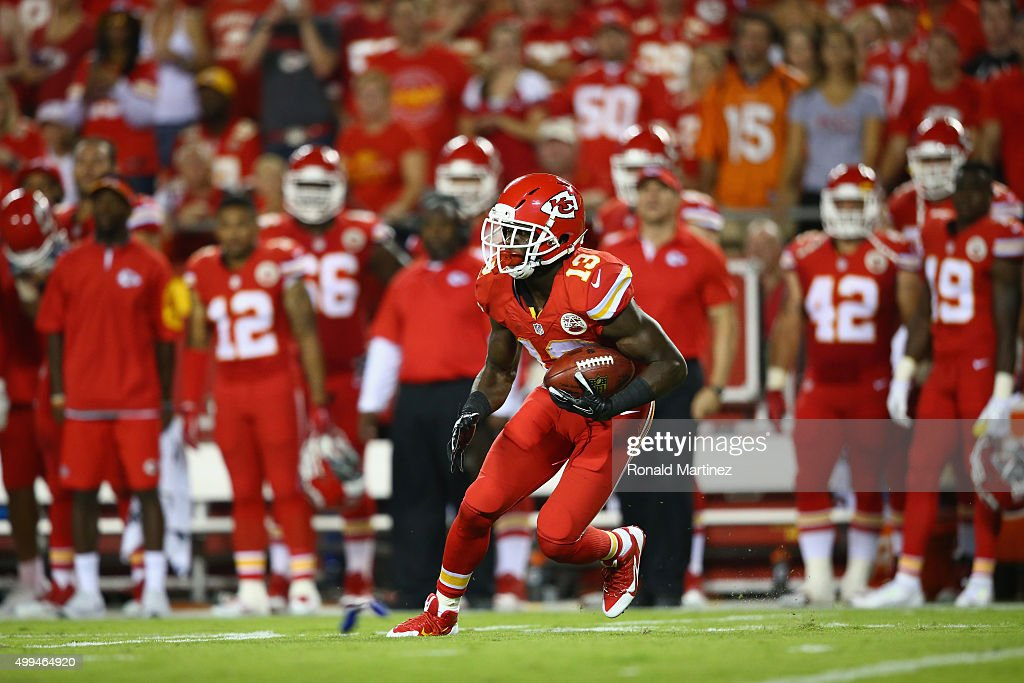 De'Anthony Thomas #13 of the Kansas City Chiefs at Arrowhead Stadium on September 17, 2015 in Kansas City, Missouri.