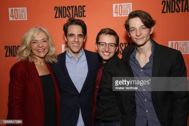 Dear Evan Hansen cast Rachel Bay Jones Steven Levenson Will Roland and Mike Faist attend the After Party for the Second Stage Production of Days Of...