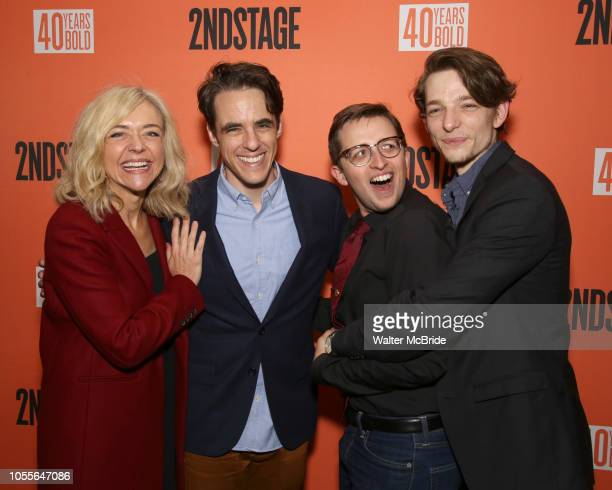 """Dear Evan Hansen"""" cast Rachel Bay Jones, Steven Levenson, Will Roland and Mike Faist attend the After Party for the Second Stage Production of """"Days..."""