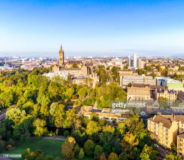 dear green place - glasgow from the air - glasgow green stock pictures, royalty-free photos & images