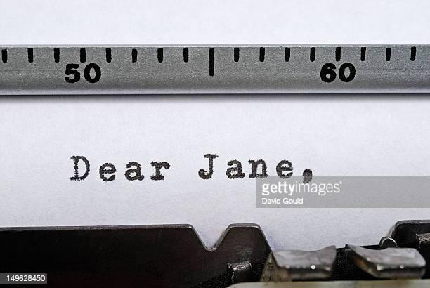 'Dear Jane' written with a typewriter