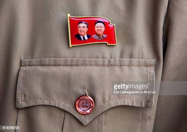 Dear leaders badge panmunjom North Korea on September 7 2012 in Panmunjeom North Korea