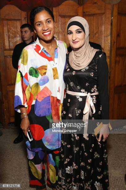 De'Ara Balenger and honoree Linda Sarsour attend the Ms Foundation for Women 2017 Gloria Awards Gala After Party at Capitale on May 3 2017 in New...
