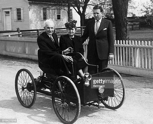 1946 Dearborn MI Shown here is the late Henry Ford seated in the first car he built in 1896 With him is the late Mrs Ford and standing is Henry Ford...