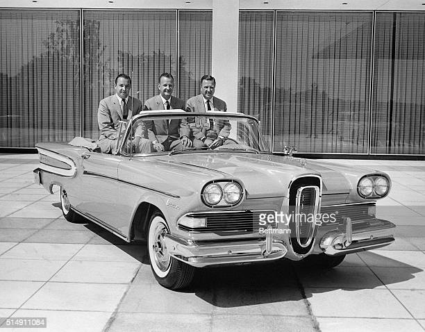 Dearborn MI The three sons of the late Edsel Ford show off a Citation Convertible Edsel at the national press introduction of the new car They are...