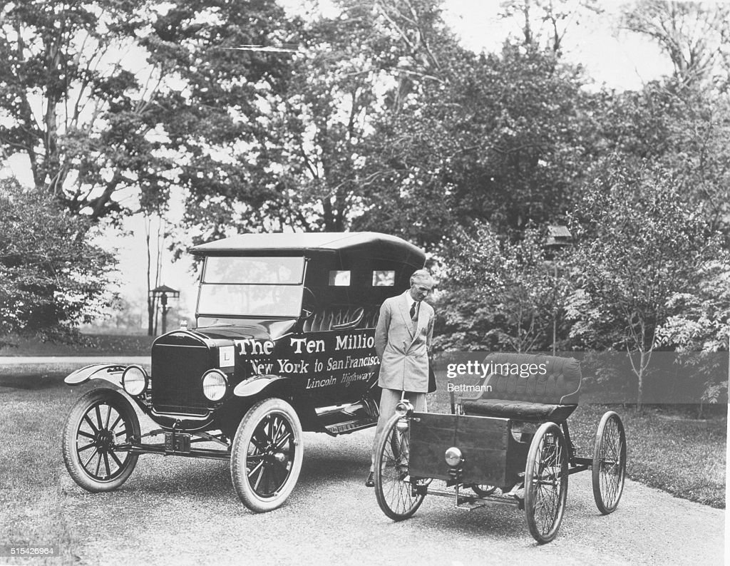 Henry Ford Posing by His Designed Automobiles Pictures   Getty Images