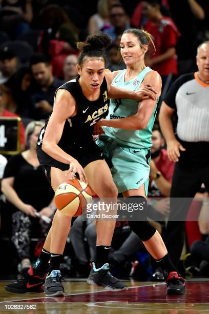 Dearica Hamby of the Las Vegas Aces handles the ball against the New York Liberty on August 15 2018 at the Allstate Arena in Chicago Illinois NOTE TO...