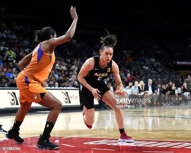 Dearica Hamby of the Las Vegas Aces handles the ball against the Phoenix Mercury on June 17 2018 at the Mandalay Bay Events Center in Las Vegas...