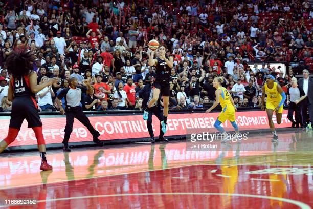 Dearica Hamby of the Las Vegas Aces hits the game winning three point basket against the Chicago Sky on September 15, 2019 at the Mandalay Bay Events...