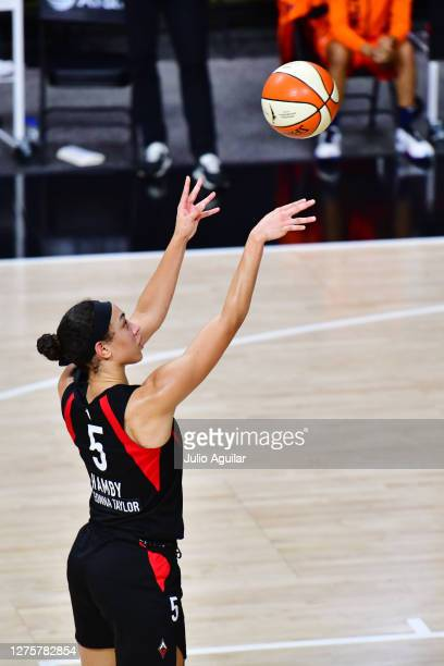 Dearica Hamby of the Las Vegas Aces shoots a free throw during the first half of Game 2 of their Third Round playoffs against the Connecticut Sun at...