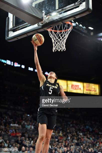 Dearica Hamby of the Las Vegas Aces shoots the ball against the Phoenix Mercury on August 1 2018 at the Mandalay Bay Events Center in Las Vegas...