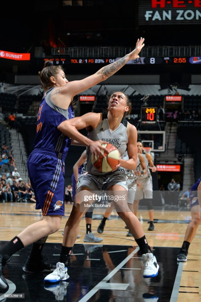 Dearica Hamby #5 of the San Antonio Stars goes to the basket against the Phoenix Mercuryon May 19, 2017 at AT&T Center in San Antonio, Texas.