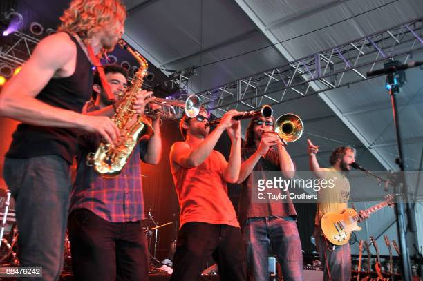 Dearland performs with Bon Iver on stage during Bonnaroo 2009 on June 13 2009 in Manchester Tennessee