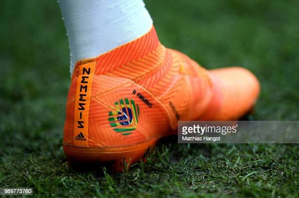 A deatailed view of Roberto Firmino of Brazil's boot during the 2018 FIFA World Cup Russia Round of 16 match between Brazil and Mexico at Samara...
