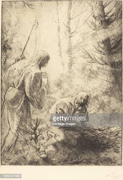 Death and the Woodcutter, 2nd plate . Artist Alphonse Legros.
