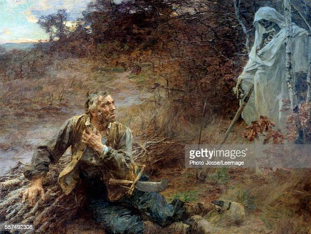 Death and the Woodcutter Illustration for the fable of Jean de La Fontaine Painting by Leon Augustin Lhermitte 206 x 242 m Jean de La Fontaine Museum...