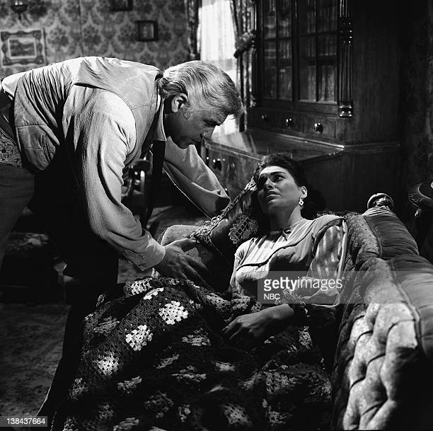 BONANZA Death at Dawn Episode 32 Aired 4/30/60 Pictured Lorne Greene as Ben Cartwright Nancy Deale as Beth Cameron