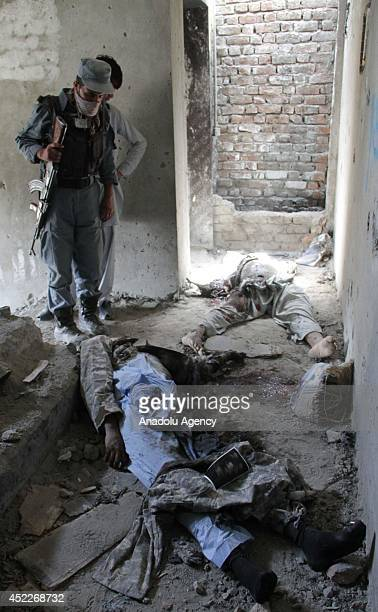 Death bodies of 5 Taliban militants staged an attack to Kabul International Airport are seen after the 5hourlength clash between Afghan security...