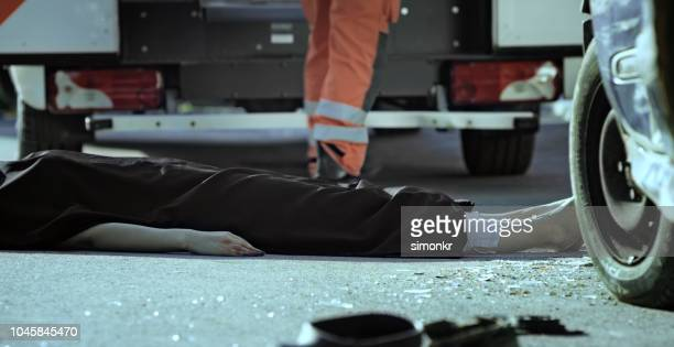 death body covered with black sheet - of dead people in car accidents stock pictures, royalty-free photos & images