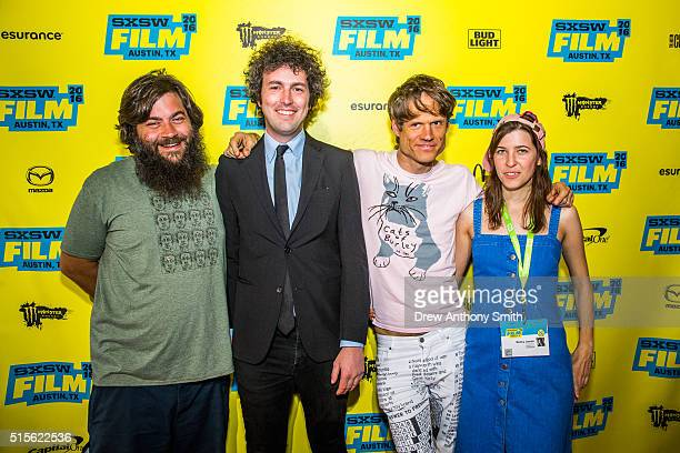 Death By Audio cofounder Edan Wilber and Director Death By Audio cofounder Matt Conboy Greg Saunier and guest pose for a photo before the premiere of...