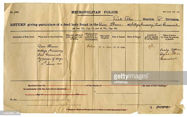 death certificate for drowned man at greenwich, england - metropolitan police stock pictures, royalty-free photos & images