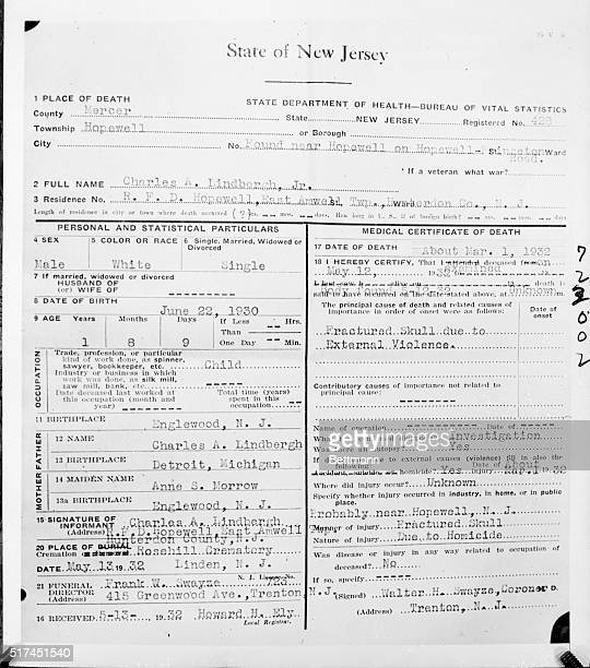 Death Certificate Issued For Lindbergh Baby Flemington New Jersey This death certificate issued for Charles A Lindbergh Jr shortly after the body of...