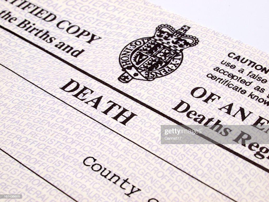 UK Death Certificate : Stock Photo