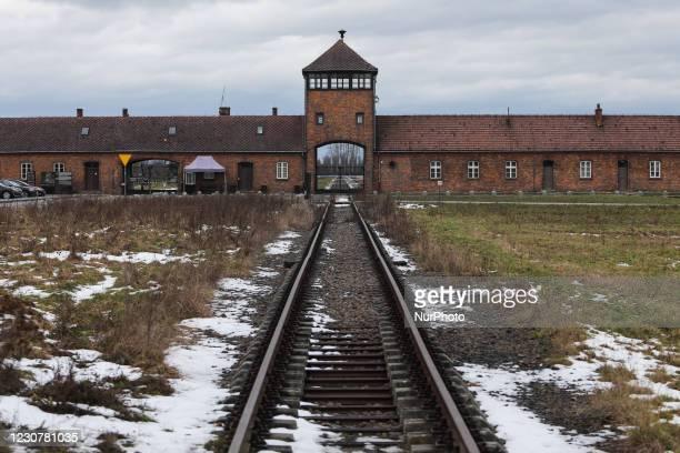 Death Gate at former Nazi German concentration camp Auschwitz II-Birkenau on January 23, 2021 in Brzezinka near Oswiecim, Poland. January 27 will...