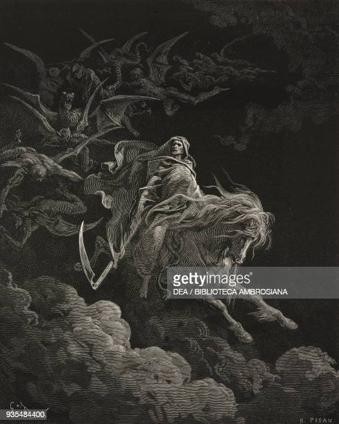 Death is the rider on the pale horse engraving by Gustave Dore from The Holy Scriptures containing the Old and New Testaments Translated from The...