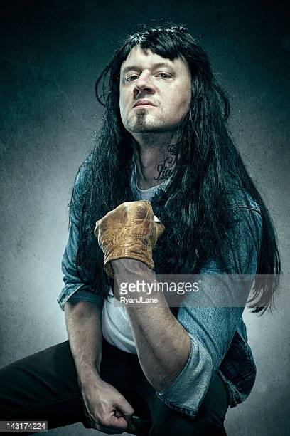 death metal tough guy - leather glove stock pictures, royalty-free photos & images