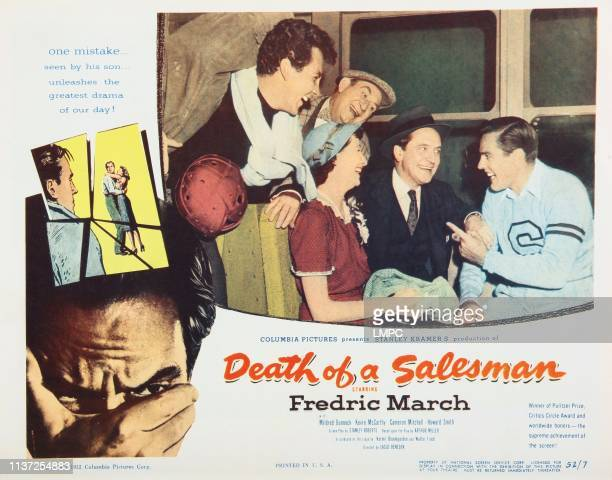Death Of A Salesman, lobbycard, from left: Cameron Mitchell, Howard Smith, Mildred Dunnock, Fredric March, Kevin McCarthy, 1951.