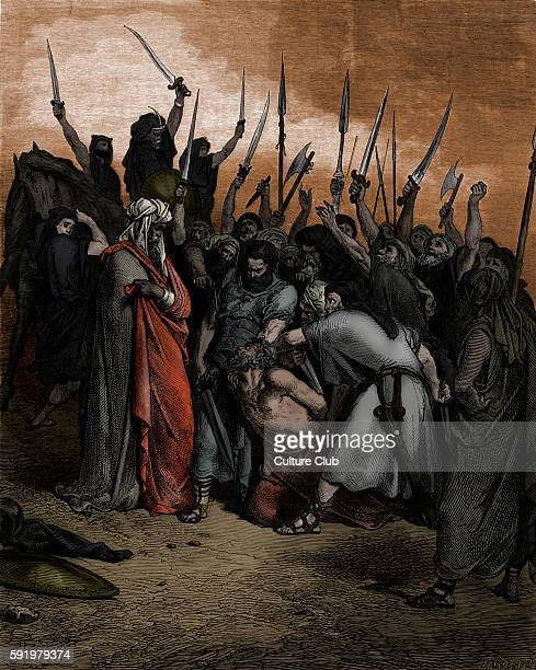 Death of Agag / 'A morte de Agag,' king of the Amalekites. Engraving by Gustave DorŽ . Saul has Agag killed at Gilgal. Engraving by Goebel. Samuel I,...
