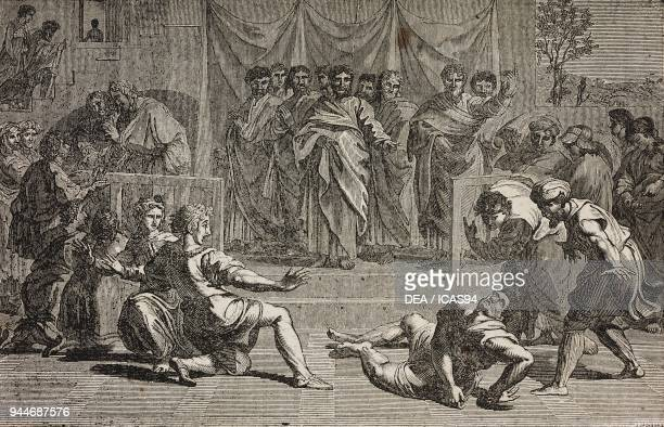 Death of Ananias after a painting by Raphael illustration from Teatro universale Raccolta enciclopedica e scenografica No 42 April 18 1835